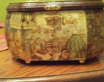 Vintage 1960's Anton Pieck wooden box purse.   Like new