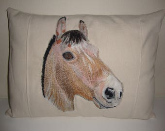 Pillow, horse, english, throw , toss, accent, decorative, twill cotton, thread embroidery, insert included.
