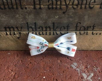 Infant/Toddler double arrow hair bow with gold detail