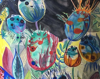 alien garden at night