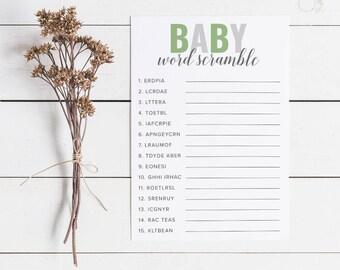 Green Baby Shower Word Scramble, Baby Shower Games, Word Scramble