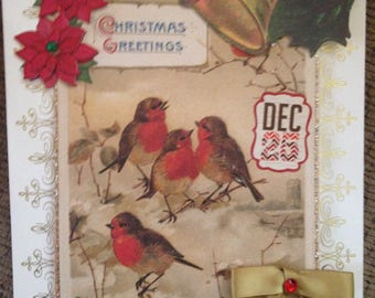 Vintage Christmas Card/Handmade/3D/Beautiful Birds Surrounded by Festive, Colorful Embellishments; Greeting
