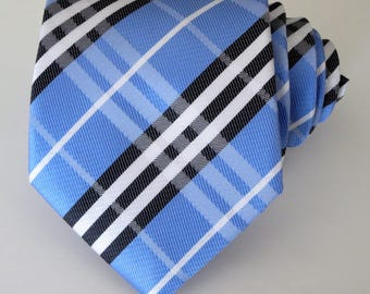 Blue, Black, and White Pattern Tie