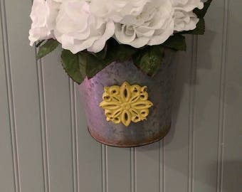 Floral  hanging bucket.