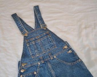 Vintage STAGGER Denim Dress Overalls Pinefore / Size 8 Girls / 100% Cotton