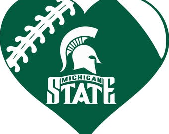 Michigan State Spartans Football Heart digital file for decal logo for car, window, yeti SVG PNG DXF and more!! clipart clip art Tshirt