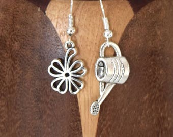 Garden watering can and flower clips silver flowers and watering can earrings