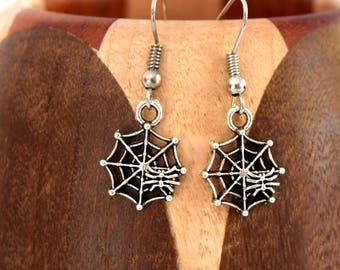 Antique silver Spider Web, antique silver Spider Web Clip earrings