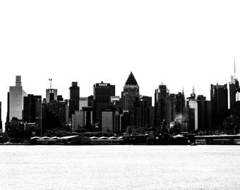 Fine art photography, photography prints, download, printable black and white wall art of New York City skyline, cityscape