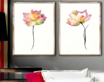 Lotus Wall Decor Painting Lotus Flower Art Print Lotus, Set 2 Flower Lotus Art Print Flower Decor Wall Art Lotus Original Gift Idea