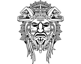 Aztec ornament svg etsy for Aztec mask template
