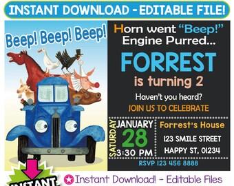 SALE 60% OFF: Little Blue Truck Invitation, Little Blue Truck Birthday Invitation, Little Blue Truck Invitation Instant Download, Editable
