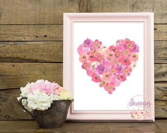 Floral Heart Printable, Heart Print, Wall Art Printable, Girl Nursery Decor, Pink Nursery, Nursery Prints Girl, Watercolor Heart, Pink