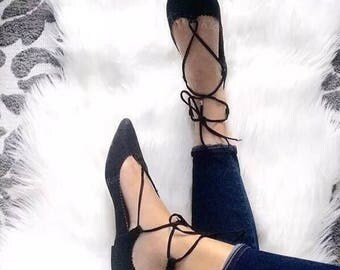Topshop Lace Up Pointed Toe Flats