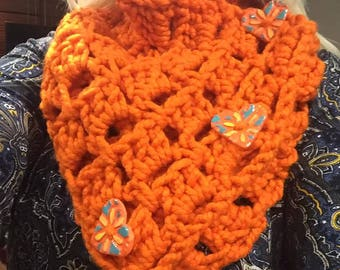 Orange Scarf/Wrap with Heart Buttons