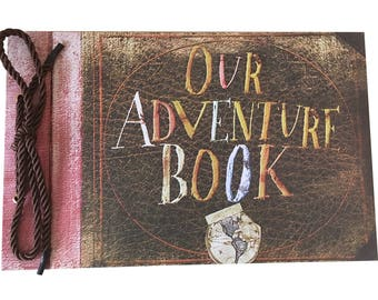 Our Adventure Book DIY Scrapbook/Wedding Photo Album, with Pixar Up Movie Postcards & Stickers