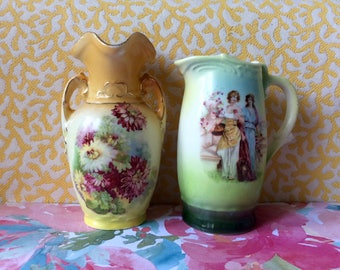 Pair of Austrian Vases / Creamer Pitcher / Vintage / Green and Yellow