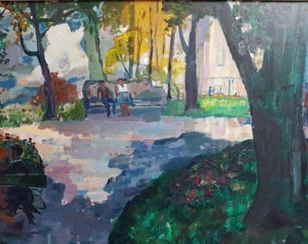 Lovely painting signed Jo vipond (1922-2008) acrylic on board Dutch naive Expressionism expressionist painting Dutch art