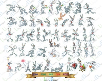 Bugs Bunny SVG Bugs Bunny Birthday Party Bugs Bunny T Shirt Bugs Bunny Poster decor ornament svg eps png dxf cutting files for cricut cameo