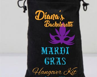 Black Bachelorette Hangover Kit, Mardi Gras Mask, Marti Gras  Hangover Kit, Black Drawstring Bags, Personalized Party Gifts, Mask