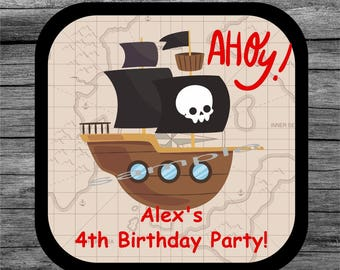 20 Pirate skull birthday coaster, Personalized coaster, Custom coaster, Birthday gift, Drink coaster, Mug coaster, 4th Birthday Party