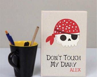 Skull Pirate Cotton Covered Notebook, Pirate, Skull Gifts, Pirate Skull Birthday Gifts, Custom Canvas Notebook, Canvas Notebook Gift