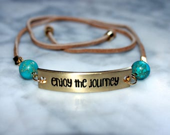 Enjoy the Journey Choker * boho taupe tan suede w/ gold accents and aqua turquoise imperial jasper