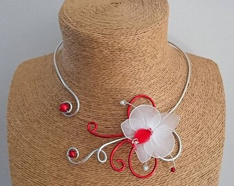 Silver Aluminum necklace / red and the Orchid