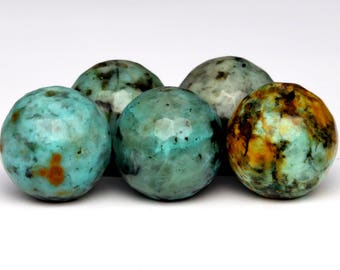 60 / 30 Pcs - 6MM African Turquoise Beads Grade AAA Micro Faceted Round Genuine Natural Gemstone Loose Beads (100806)