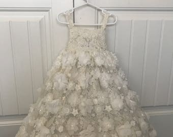 Handmade Ivory Flower Girl Gown