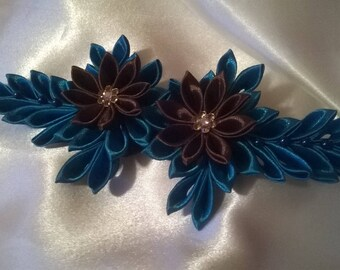 Flower hair clip kanzashi way made in turquoise and chocolate satin with a rhinestone heart Ribbon