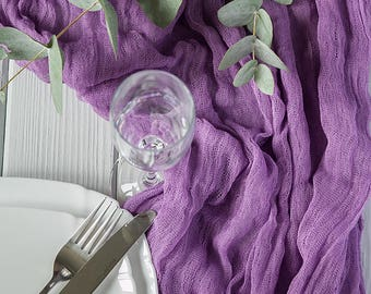 Bilberry Gauze runner, Table runner for Wedding, Wedding Decor, Cheesecloth Runner, Colored Gauze Runner