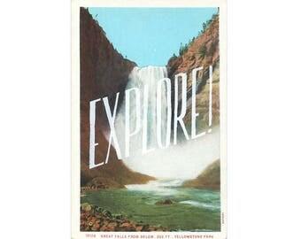 Screenprinted vintage postcard - Explore!