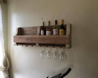 Original Hand Made Reclaimed Custom Pallet Wood Wine Rack, Wall Hanging, Rustic (Various Sizes)