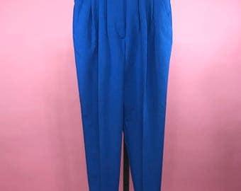 80's Vintage Royal Blue High Waisted Pants
