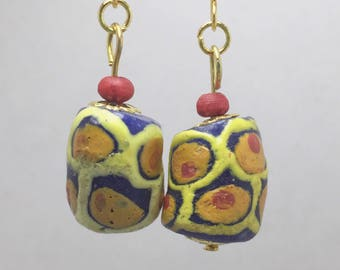 Colorful hand painted cylinder earring