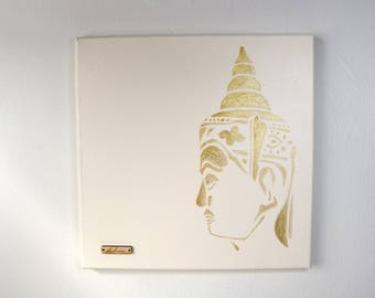 Gold metallic Buddha original canvas painting wall art