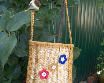 Summer handbag made of straw.Straw bag.Purse.Natural straw.