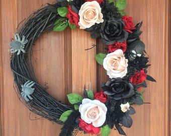 Halloween wreath, gothic wreath, skull wreath, spider wreath, halloween wreath for front door, halloween decor, floral Halloween wreath