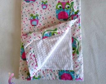 Printed cotton and fleece baby blanket minky 65x95cm
