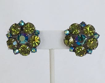Rhinestone Flower Earrings, Peacock Colors, Green and Aurora Borealis Blue, Clip On, Silver Tone, 1950s, Vintage, Mid-Century
