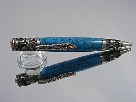 Handcrafted Phoenix Rising Ink Pen in Antique Pewter and Turquoise Tru-Stone