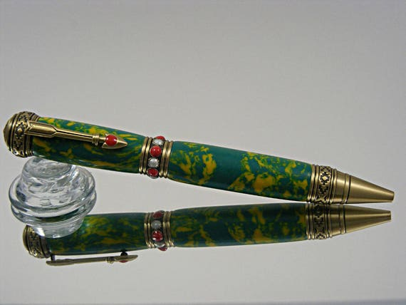 Handcrafted Southwest Ink Pen in Antique Brass with Red and White Stones