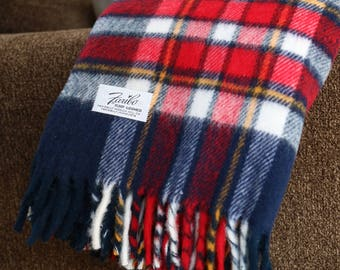 Vintage Faribo Blue & Red Plaid Throw - Excellent Condition