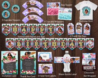 Moana Birthday Party Package Bundle DIY Kit Banner Invitation Thank You Card Tags Favor Tags Stickers  Birthday Shirt Label - Digital File