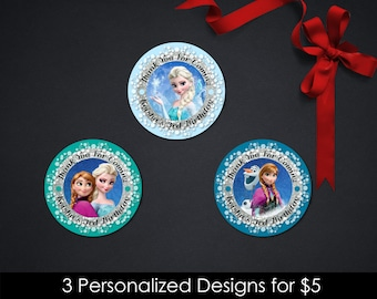 Personalized Frozen Cupcake Topper Toppers Favor Sticker Queen Elsa Princess Anna Olaf Thank You Tags Snow Printable DIY - Digital File