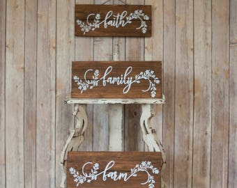 Set of three Hand Painted Wood Pallet Signs - Faith, Family, Farm.