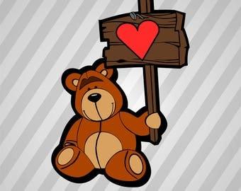 Happy Bear (Colour) - Svg Dxf Eps Silhouette Rld Rdworks Pdf Png Ai Files Digital Cut Vector File Svg File Cricut Laser Cut