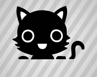 Cat Silhouette Kitten Kity- Svg Dxf Eps Silhouette Rld RDWorks Pdf Png AI Files Digital Cut Vector File Svg File Cricut Laser Cut