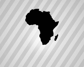 Africa Map Silhouette Maps - Svg Dxf Eps Silhouette Rld RDWorks Pdf Png AI Files Digital Cut Vector File Svg File Cricut Laser Cut